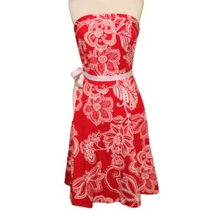 B. Smart Strapless Red and White Floral Dress 6